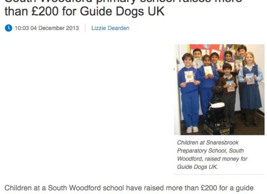 South Woodford School Raises £200 for Guide Dogs Uk