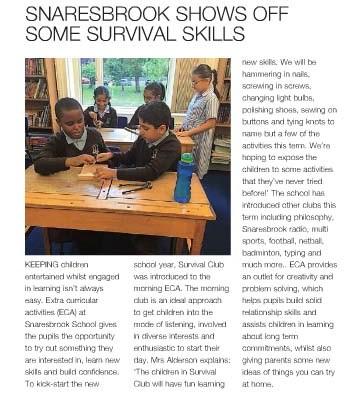 Snaresbrook Shows Off Some Survival Skills