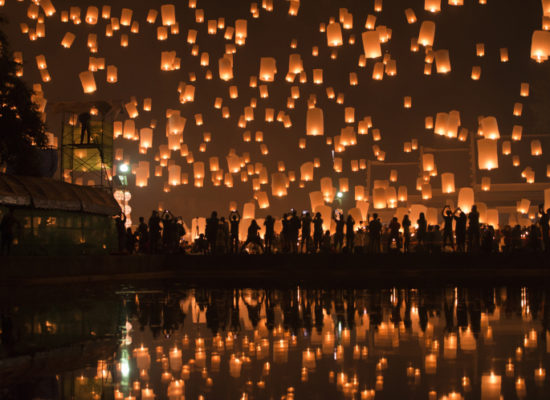 Thousands of sky lanterns were released into the night sky during the festival of light celebration in Chiang Mai, Thailand.